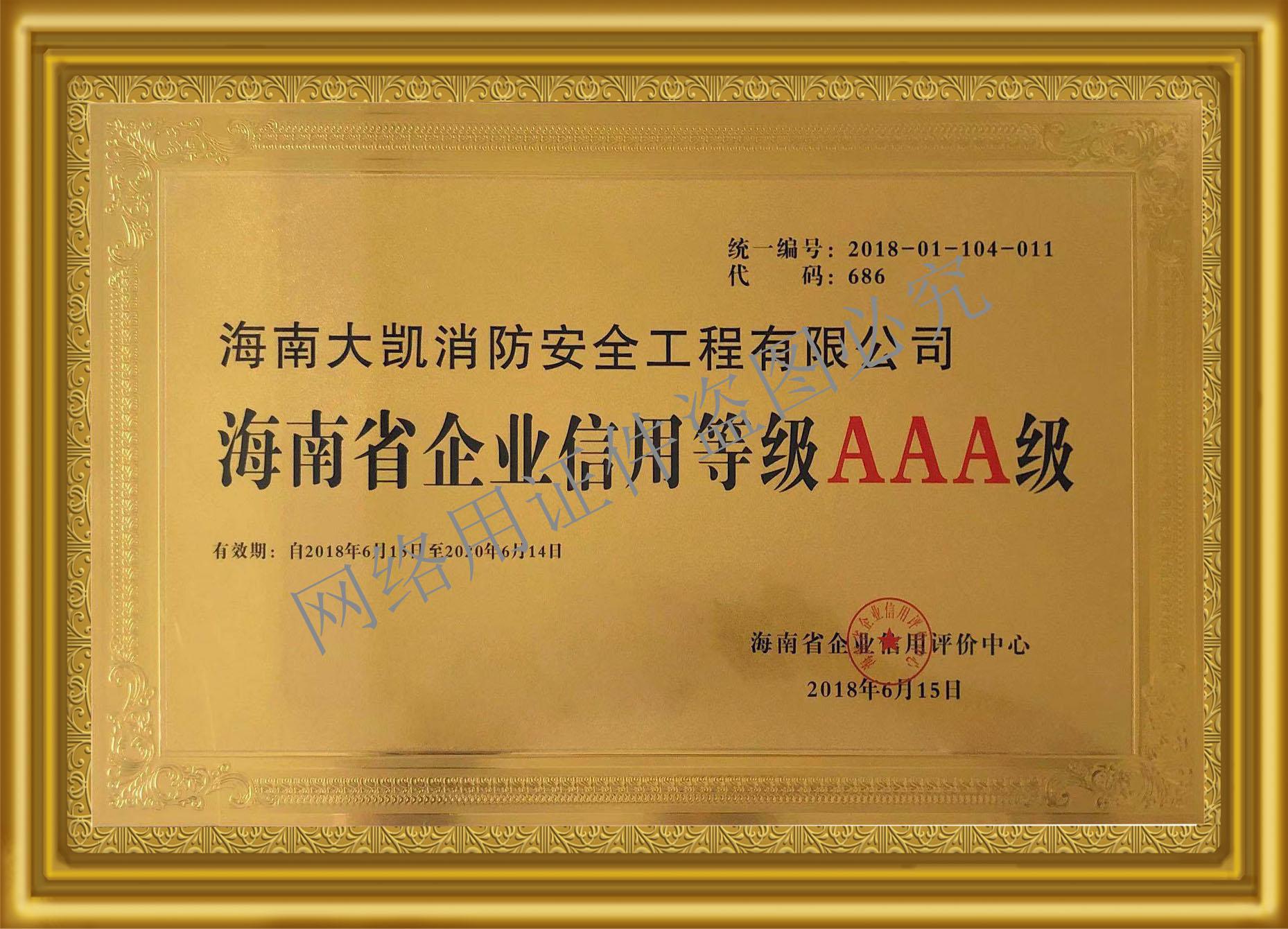18-2020海南省企业信用等级AAA